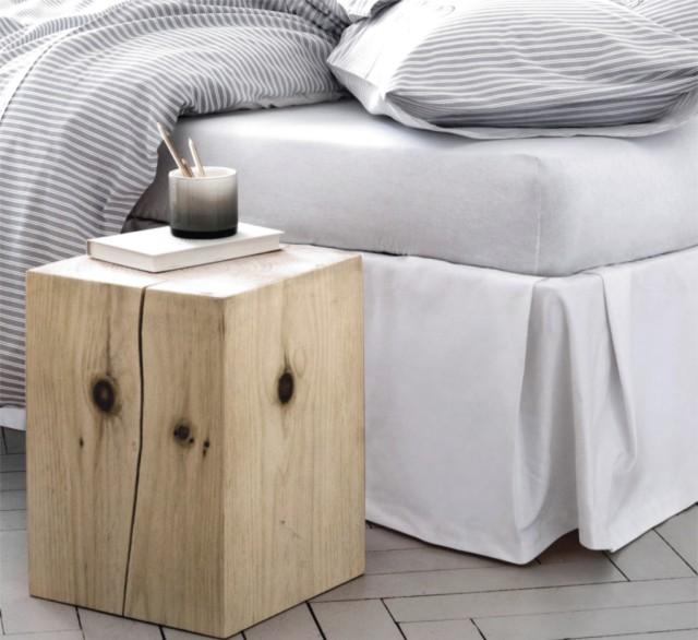 stolik pień drewniany styl eko pure sypialnia projekt aranżacja wnętrz