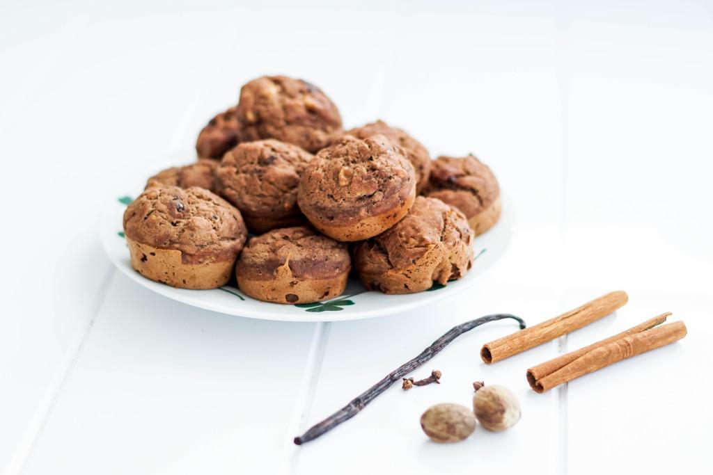 muffinki z bananami, muffiny, muffiny czekoladowe z bananami