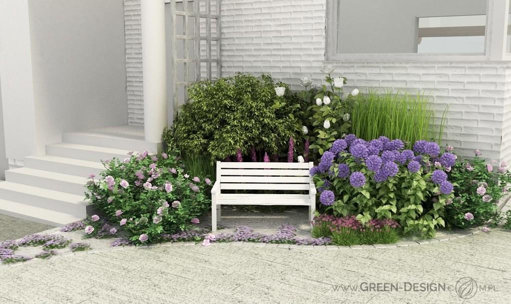 ławeczka w ogrodzie