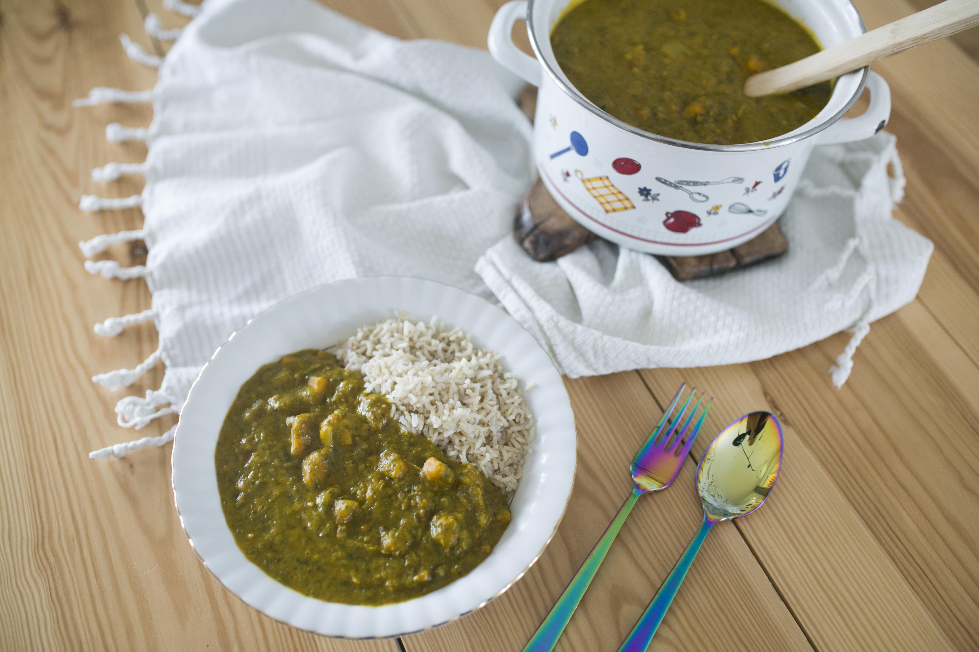 dynia hokkaido, curry z dyni, Curry z dyni z masłem orzechowym